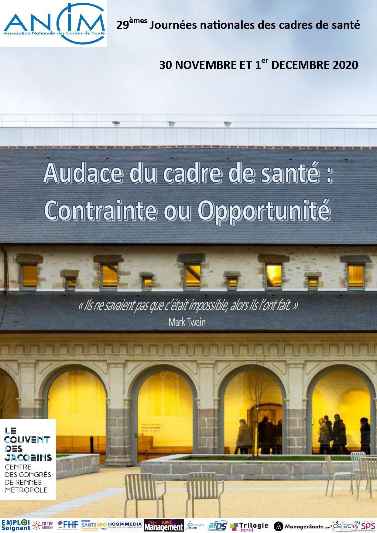 Journées Nationales des Cadres de Santés 2020 à Rennes